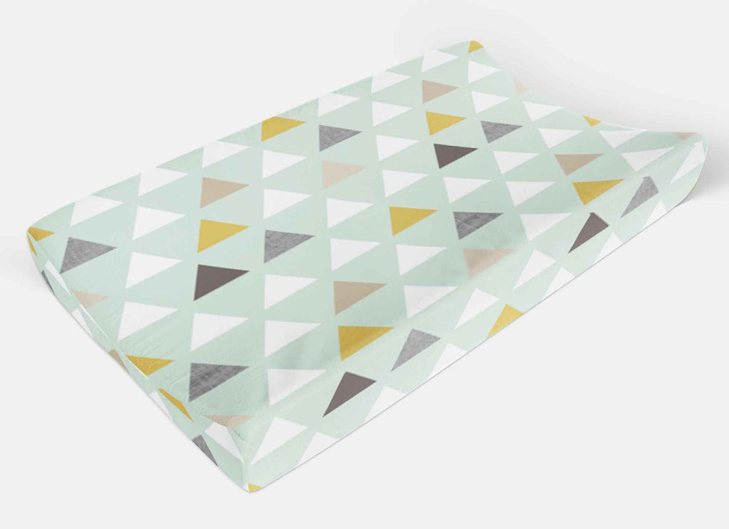Triangle Changing Pad Cover Mint Change Pad Cover - Dream Evergreen @DreamEvergreen