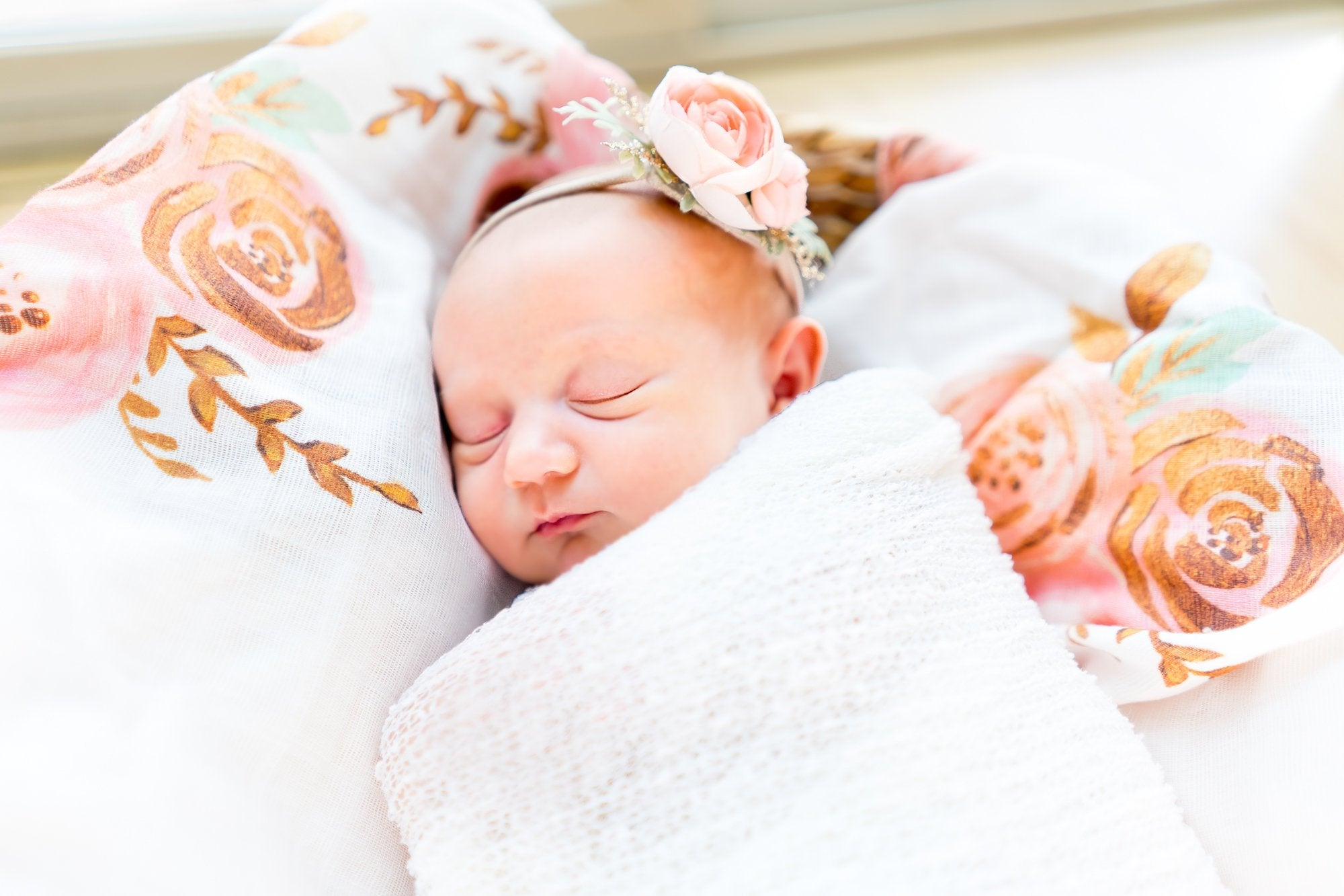 Gold Floral Swaddle Blanket - Pink Flower Baby Blanket - Dream Evergreen @DreamEvergreen