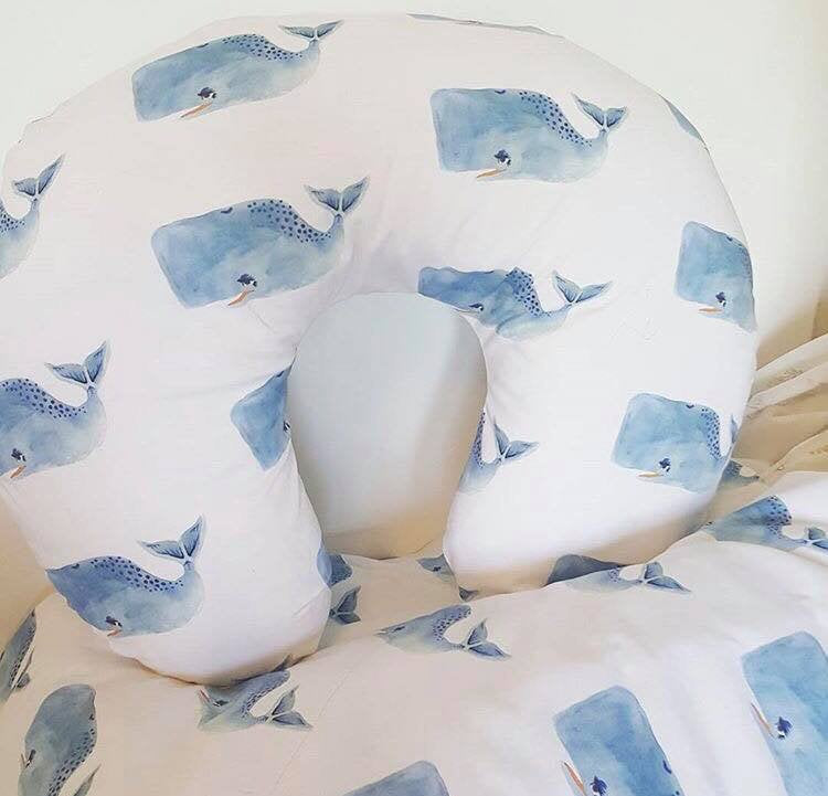 Whale Boppy Cover -Blue Watercolor whale Nursing Pillow Cover - Dream Evergreen @DreamEvergreen