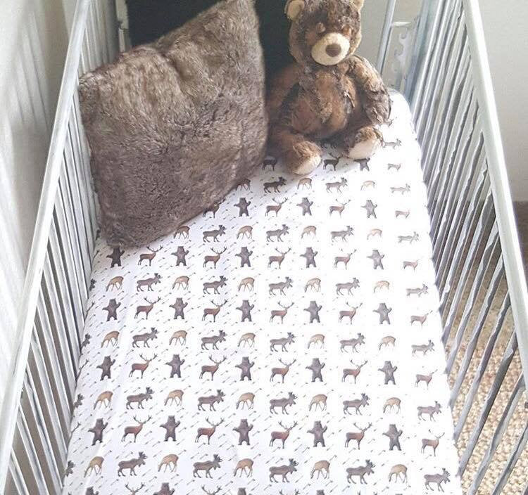 Woodland Fitted Crib Sheet - Deer Bear Moose Fawn Boy Toddler Bedding - Dream Evergreen @DreamEvergreen