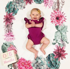 Floral Cactus Milestone Wreath Swaddle Blanket - Dream Evergreen @DreamEvergreen