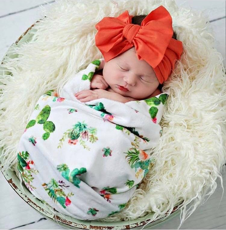 Cactus Swaddle Blanket - Green Succulent Baby Blanket - Orange Blossom Special  @orangeblossomspecial805