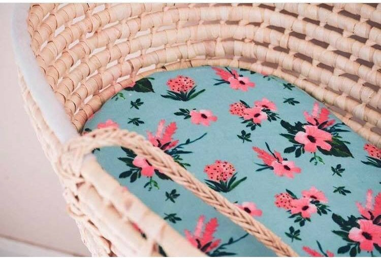Floral Moses Basket Sheet - Flowers Bassinet Sheet - Dream Evergreen