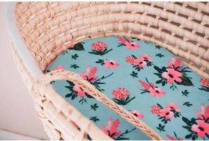 Floral Moses Basket Sheet - Flowers Bassinet Sheet - Dream Evergreen @DreamEvergreen