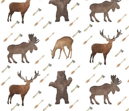 Woodland Fitted Crib Sheet - Deer Bear Moose Fawn Boy Toddler Bedding - Orange Blossom Special  @orangeblossomspecial805
