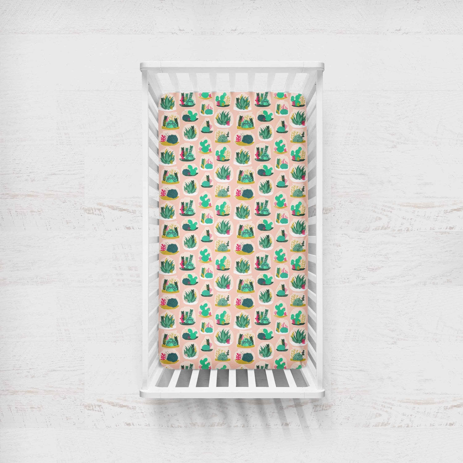 Girls Crib Sheet - Succulent - Fitted Crib Sheet- Pink Cacti Crib Bedding - cactus Bedding - Baby Bedding - Baby Shower Gift - Girls - Dream Evergreen @DreamEvergreen