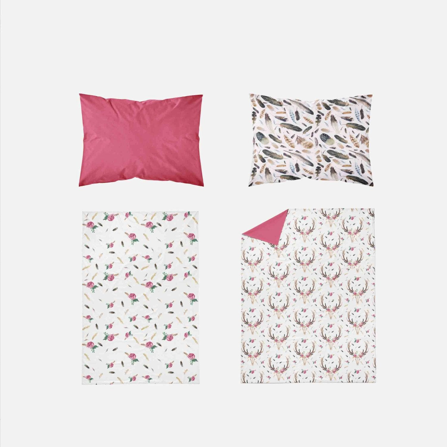 Toddler Bedding Sets - Pink Boho Skull Flowers Feathers - Orange Blossom Special  @orangeblossomspecial805