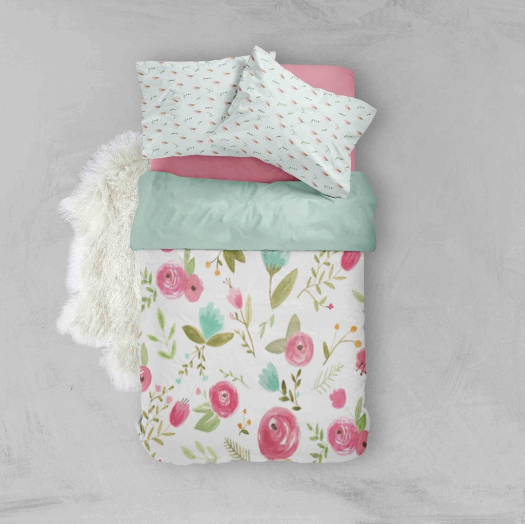 Floral Toddler Bedding Sets - Mint Pink Flowers Bird - Dream Evergreen @DreamEvergreen