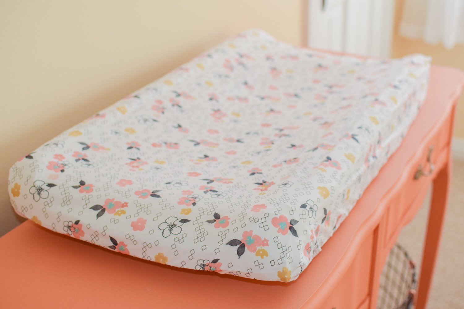 Changing Pad Cover Pink Flowers - Dream Evergreen @DreamEvergreen