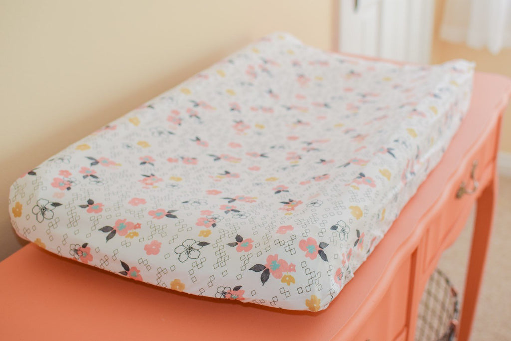 Changing Pad Cover Pink Flowers - Orange Blossom Special  @orangeblossomspecial805