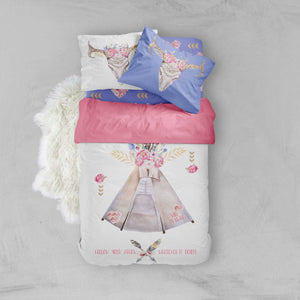 Toddler Bedding Sets - Chic Boho Flower Teepee Skull - Dream Evergreen @DreamEvergreen