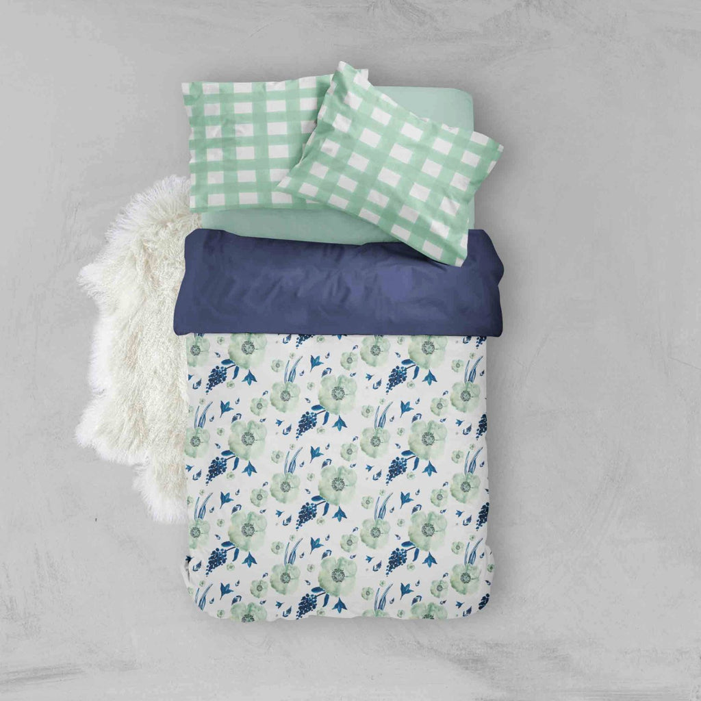 Girl Toddler Bedding Sets - Mint Navy Floral Flowers - Dream Evergreen @DreamEvergreen