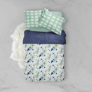 Girl Toddler Bedding Sets - Mint Navy Floral Flowers - Orange Blossom Special  @orangeblossomspecial805