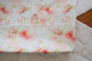 Floral changing pad cover -  Flowers Change Pad Cover - Dream Evergreen