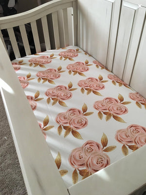 Floral Fitted Crib Sheet - Flowers Gold Glitz - Dream Evergreen