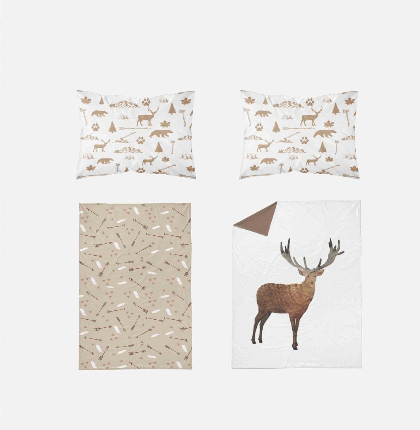 Woodland Toddler Bedding - Watercolor Deer Arrows Antlers - Dream Evergreen @DreamEvergreen