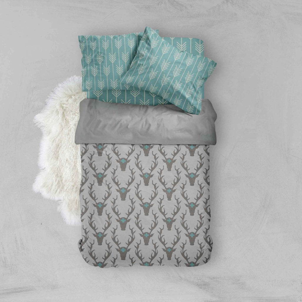 Boy Toddler Bedding Sets - Teal Grey Woodland Deer - Dream Evergreen @DreamEvergreen