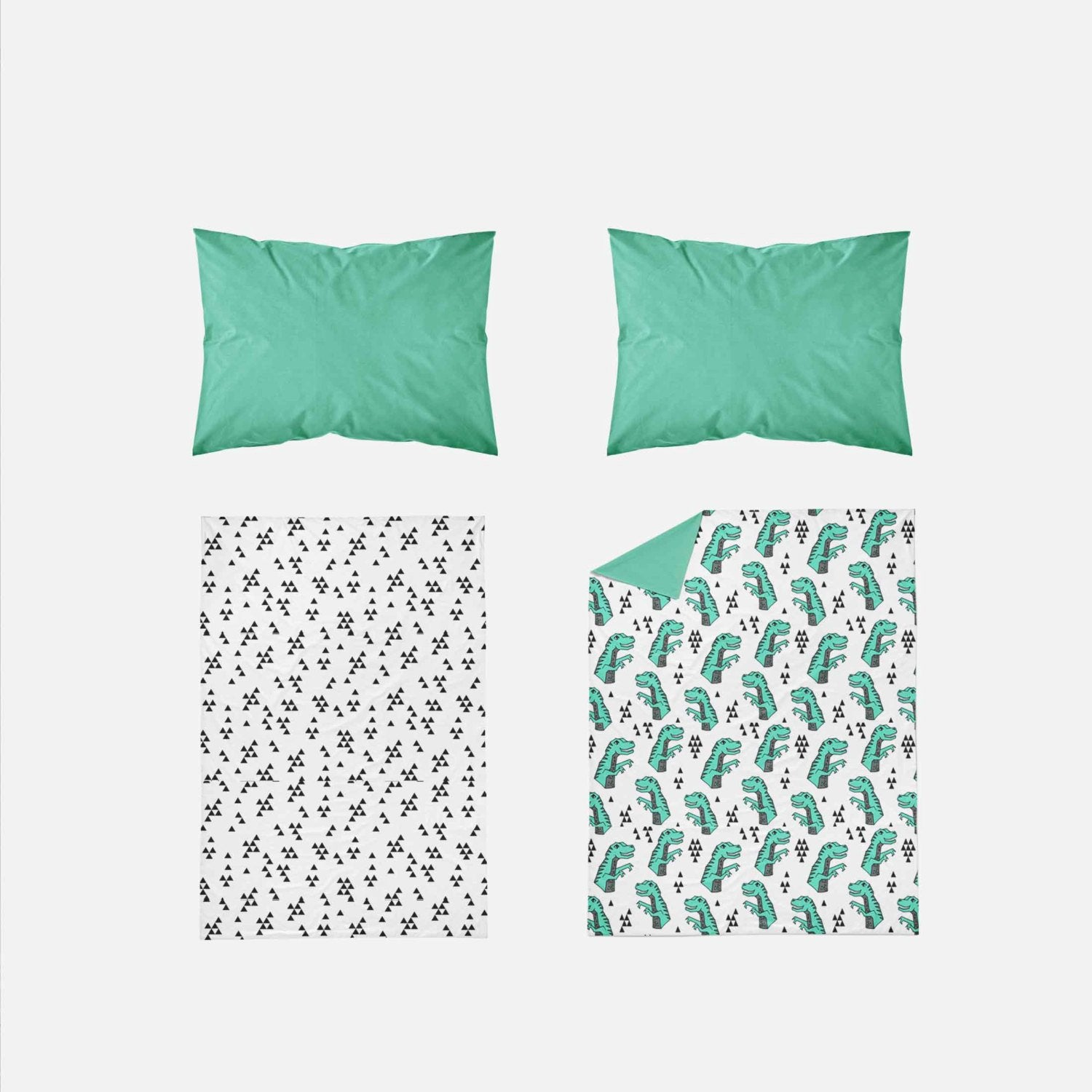 Boy Toddler Bedding Sets - Green Dinosaur T Rex - Orange Blossom Special  @orangeblossomspecial805