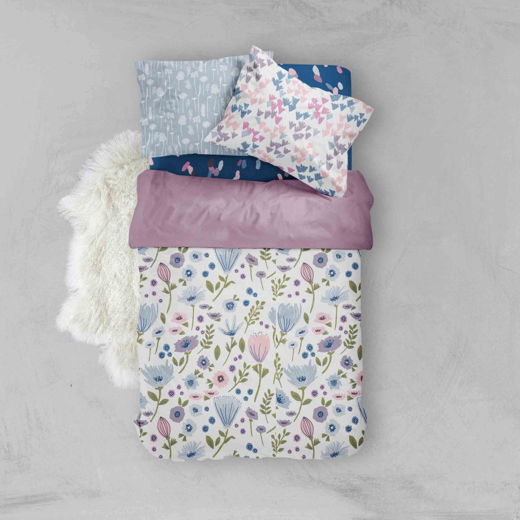 Girl Toddler Bedding Sets - Purple Blue Flowers - Dream Evergreen @DreamEvergreen