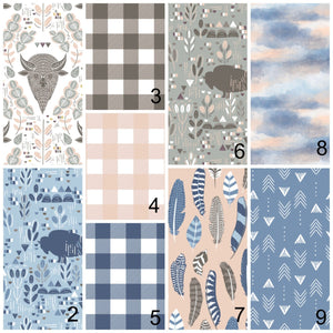 Pink & Blue Buffalo Plaid Boho Baby Bedding - Dream Evergreen @DreamEvergreen