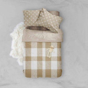 Woodland Toddler Bedding - Plaid Tan Deer - Dream Evergreen @DreamEvergreen