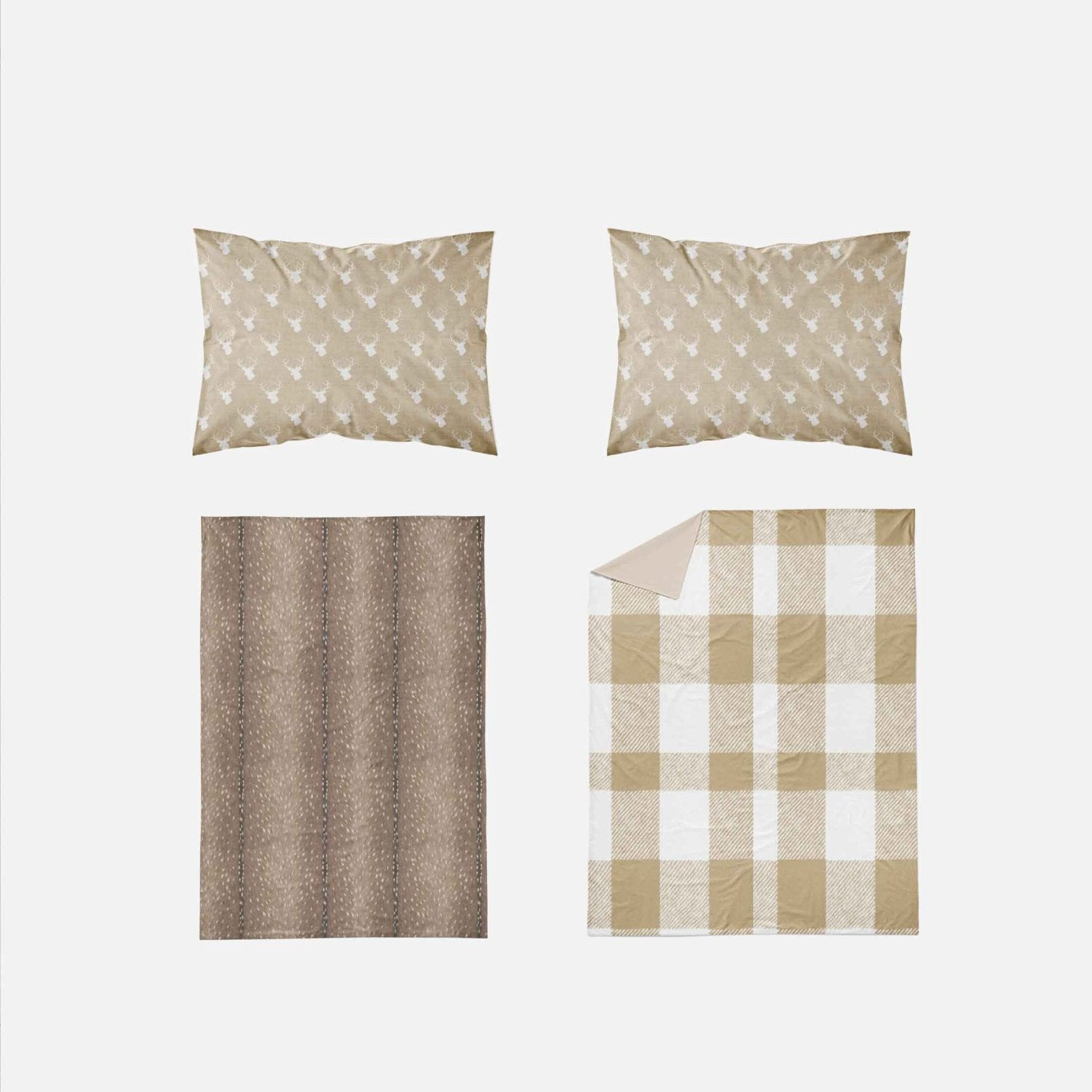 Woodland Toddler Bedding - Plaid Tan Deer - Dream Evergreen