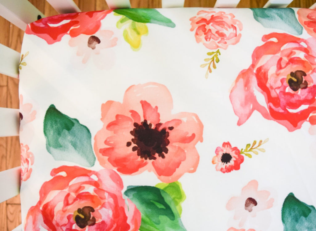Floral Rose Fitted Crib Sheet- Girls Baby Bedding - Orange Blossom Special  @orangeblossomspecial805