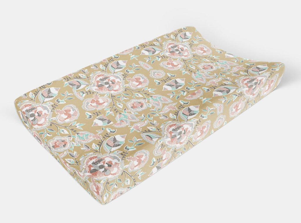Flower Changing Pad Cover - Gold Floral Change Pad Cover - Orange Blossom Special  @orangeblossomspecial805
