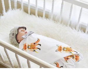Fox Swaddle Blanket - Orange Foxes Baby Blanket - Dream Evergreen @DreamEvergreen