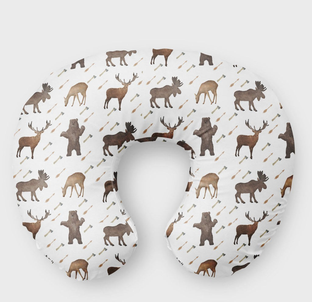 Woodland Boppy Cover Moose Bear Nursing Pillow Cover - Dream Evergreen @DreamEvergreen