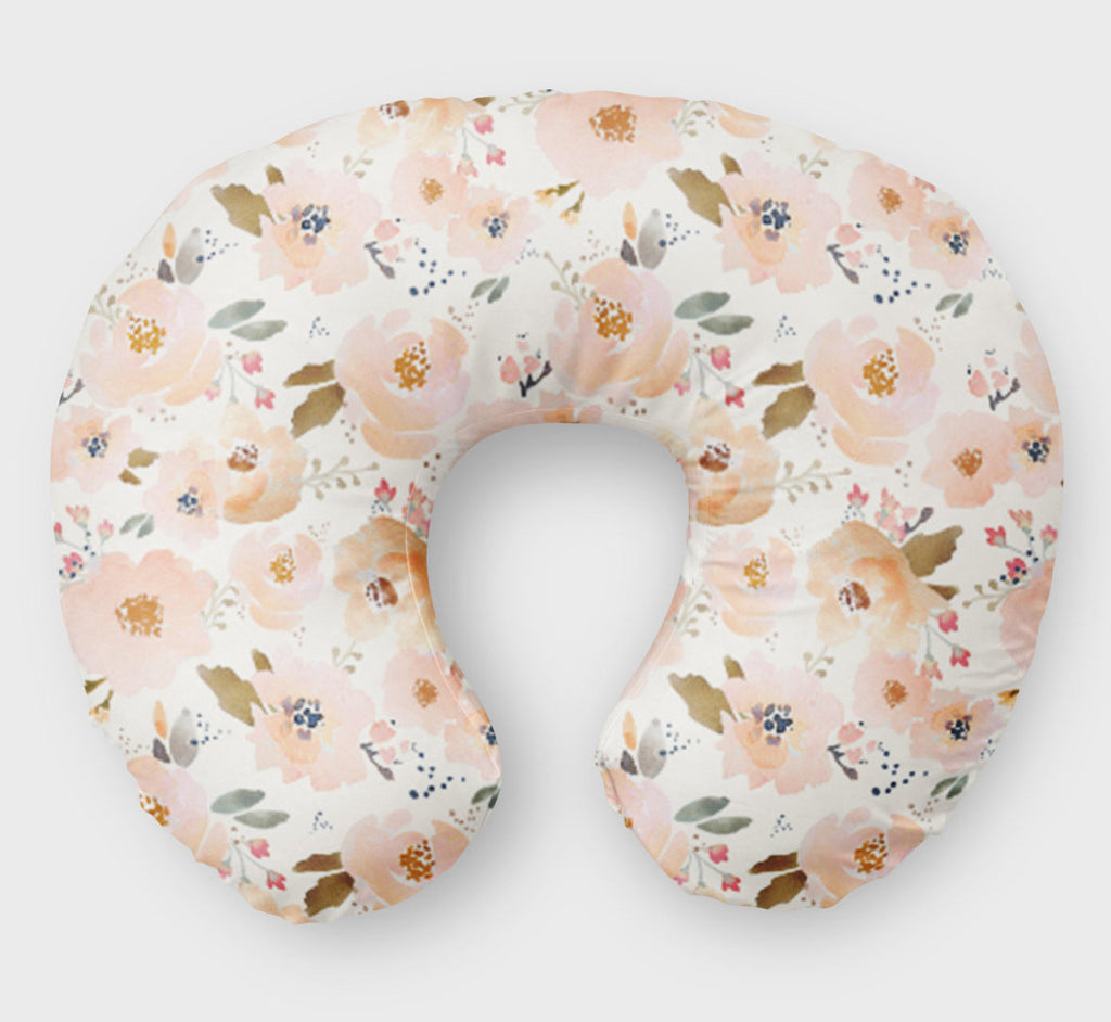 Pink Floral Boppy Cover for Girls - Pink Desert Rose  Nursing Pillow Cover - Dream Evergreen @DreamEvergreen