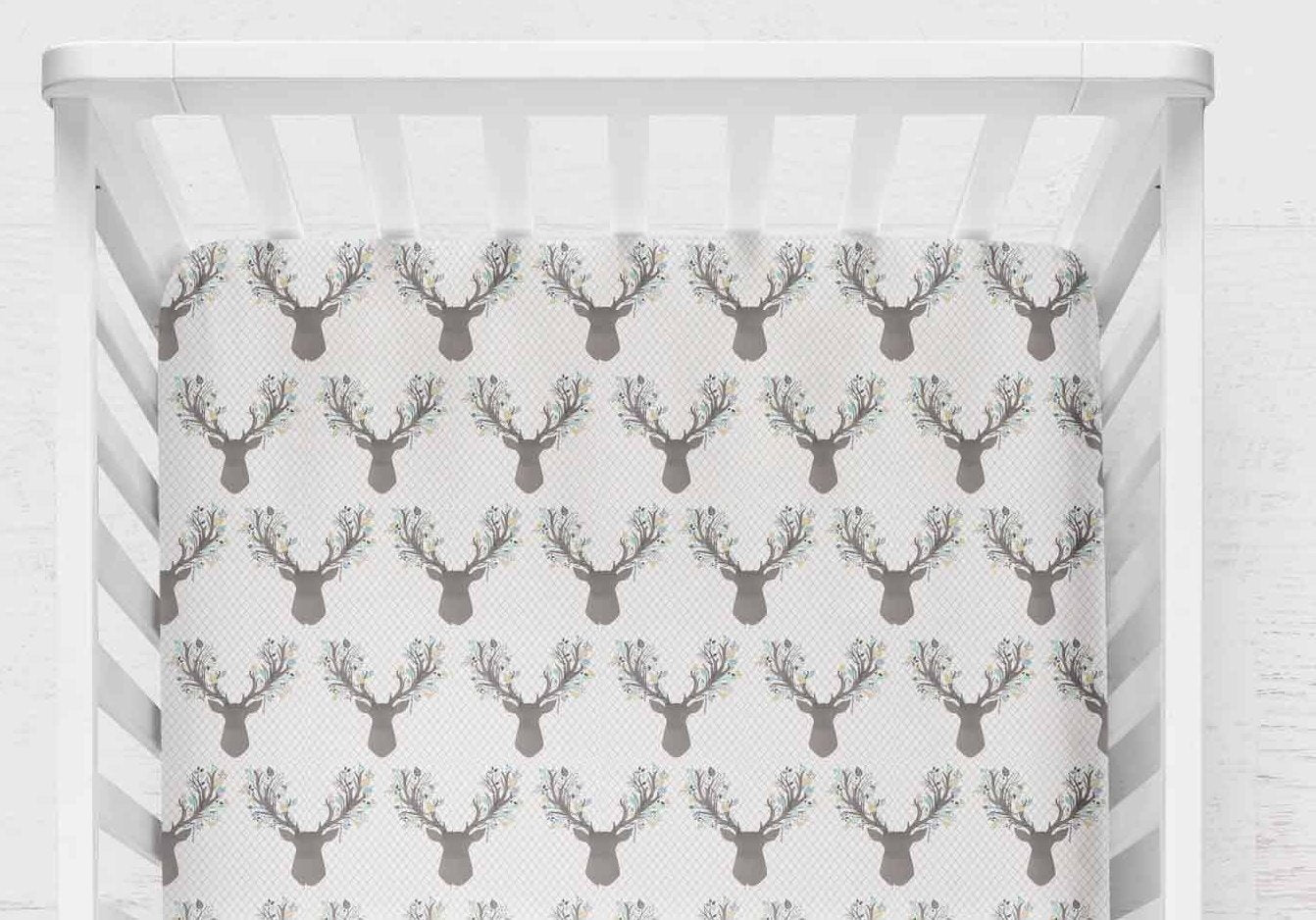 Fawn Fitted Crib Sheet- Woodland Baby Bedding - Mint Grey Deer - Orange Blossom Special  @orangeblossomspecial805