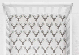 Fawn Fitted Crib Sheet- Woodland Baby Bedding - Mint Grey Deer - Dream Evergreen @DreamEvergreen
