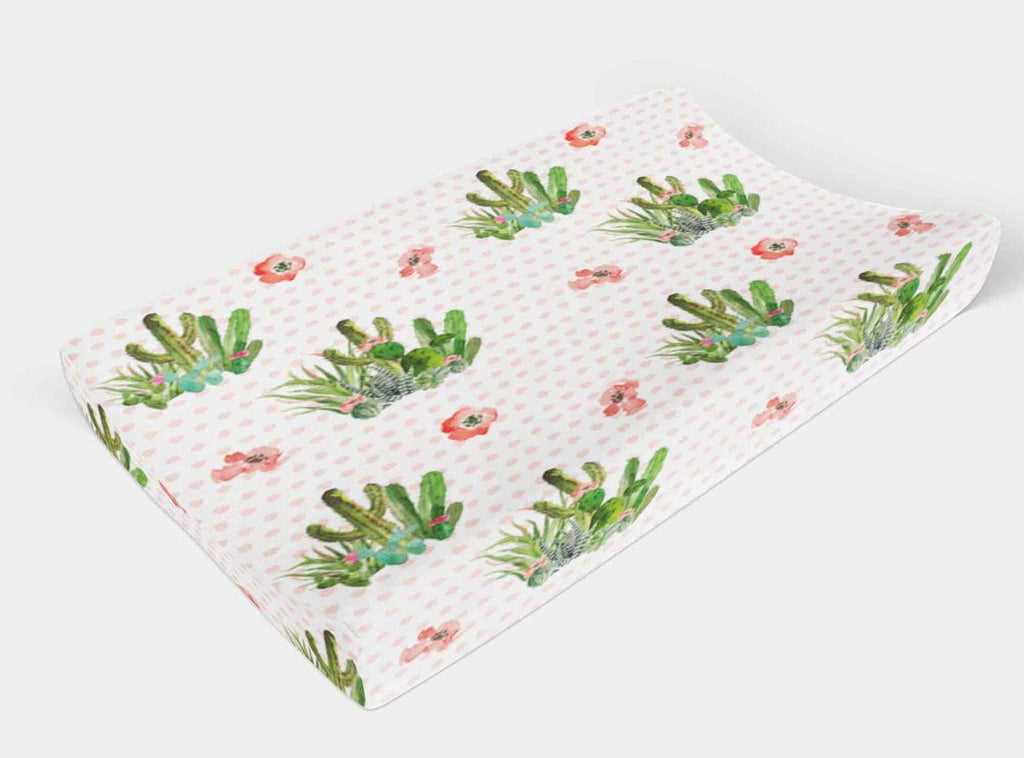 Cactus Changing Pad Cover - Succulent Change Pad Cover - Dream Evergreen @DreamEvergreen