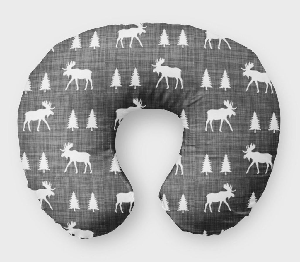 Moose Boppy Cover - Woodland Pine Trees Grey - Dream Evergreen