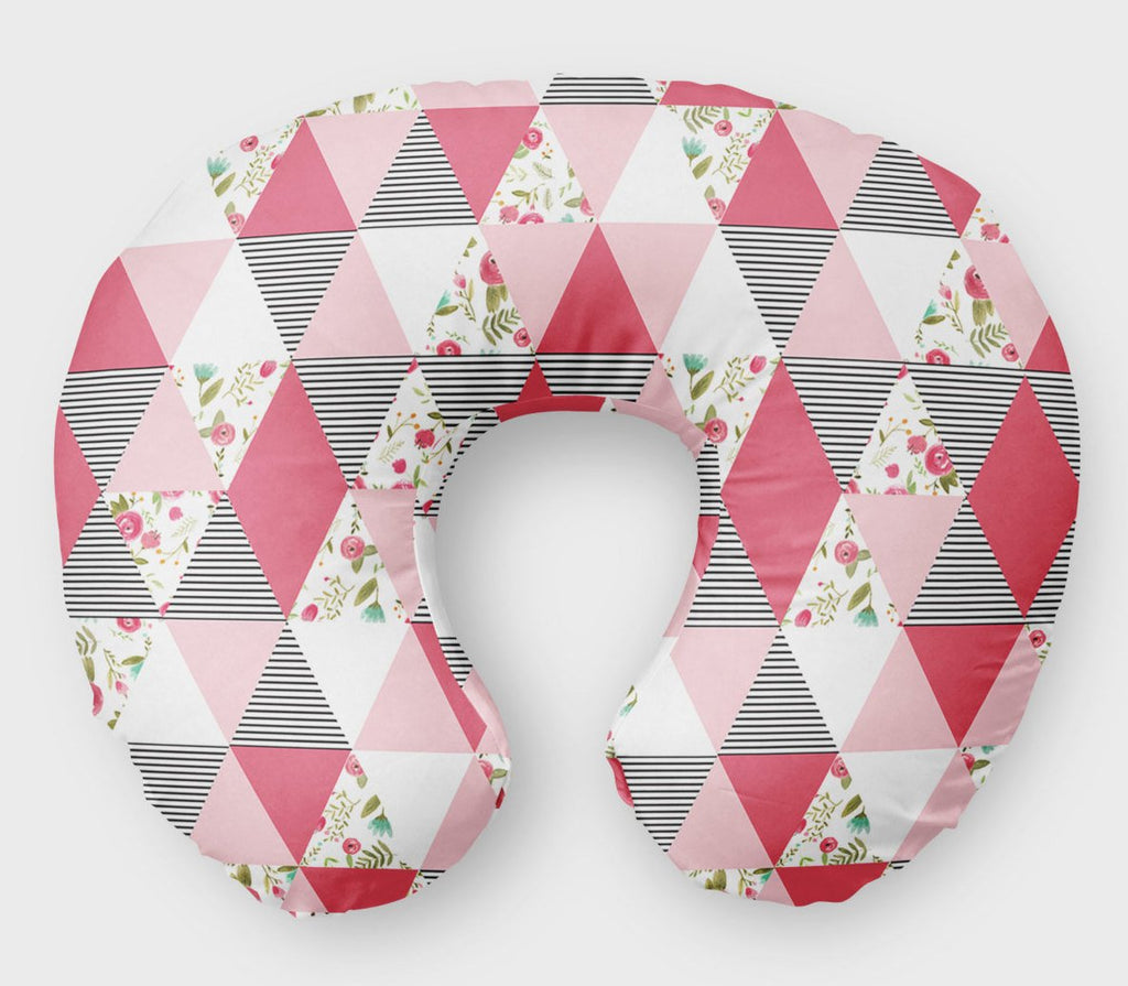 Pink Geo Flowers Nursing Pillow Cover - Pink Floral Boppy Cover - Dream Evergreen @DreamEvergreen