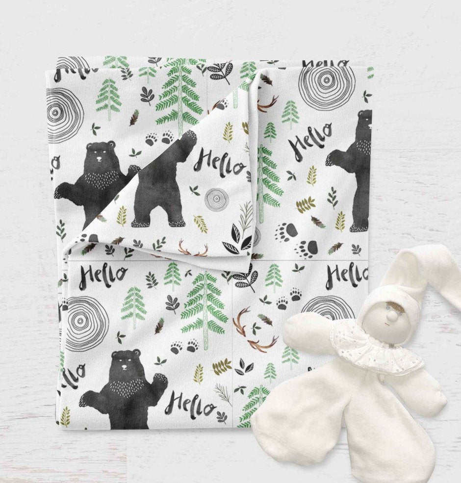 Bear Swaddle - Woodland Baby Shower Gift - Ferns Hospital Swaddle Blanket - Bear Baby Blanket - Infant Hello Newborn Swaddle- Jersey Knit - Dream Evergreen