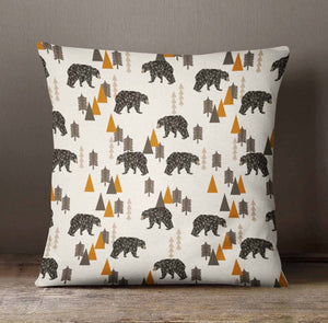 Rustic Pillow Cover - Bears Camping Rustic Throw Pillow - Orange Blossom Special  @orangeblossomspecial805