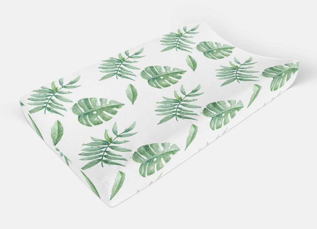Changing Pad Cover, Tropical Leaves Change Pad Cover - Dream Evergreen @DreamEvergreen