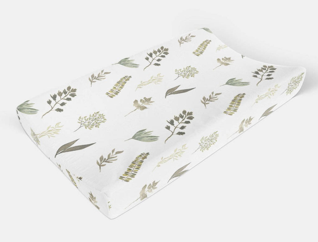 Greenery Changing Pad Cover - Leaves Change Pad Cover - Dream Evergreen @DreamEvergreen