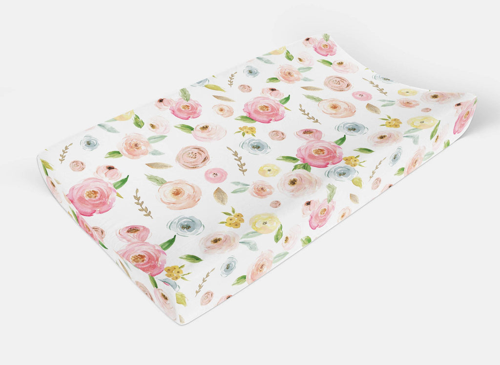 Floral changing pad cover -Flowers change Pad Cover - Dream Evergreen @DreamEvergreen