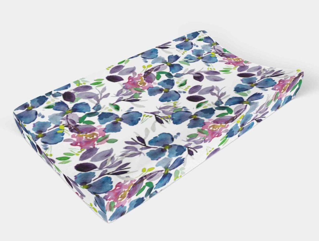 Flower Changing Pad Cover - Navy Floral Change Pad Cover - Dream Evergreen @DreamEvergreen