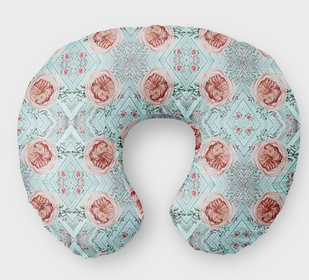 Vintage Rose Nursing Pillow Cover Winter Floral Boppy - Dream Evergreen @DreamEvergreen