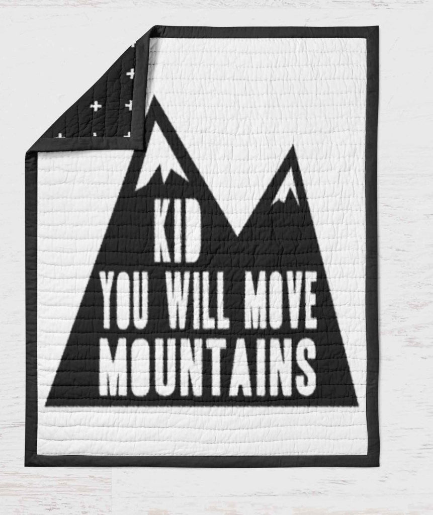 Black and White Quilt- Kid you will move Mountains - Baby Blanket - Black White Throw Blanket -Toddler Blanket -  Modern Blanket - Baby Gift - Orange Blossom Special  @orangeblossomspecial805