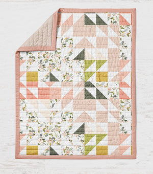 Floral Quilt - Pink Green Multi Colored Geo - Girls Throw - Dream Evergreen @DreamEvergreen