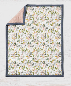 Flower Quilt-  Pink Green Floral Girls Throw Blanket - Dream Evergreen @DreamEvergreen