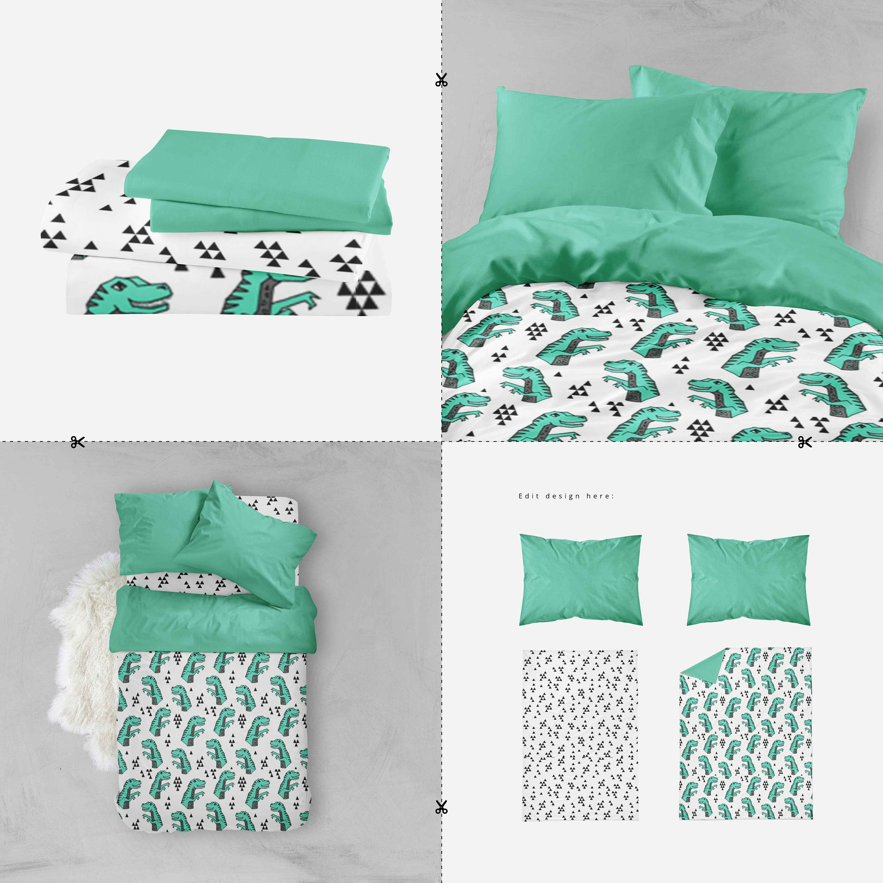 Boy Toddler Bedding Sets - Green Dinosaur T Rex - Dream Evergreen @DreamEvergreen