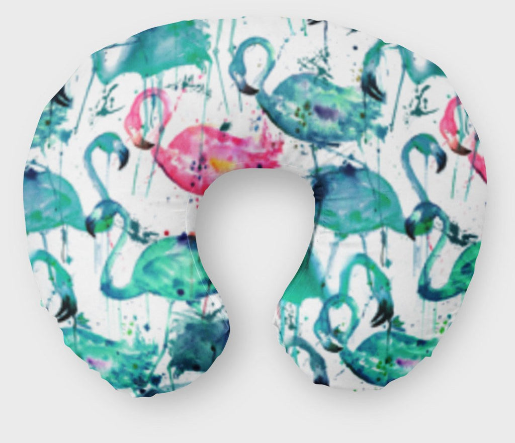 Teal Flamingo Boppy Cover - Pink Tropical Watercolor Nursing Pillow - Orange Blossom Special  @orangeblossomspecial805