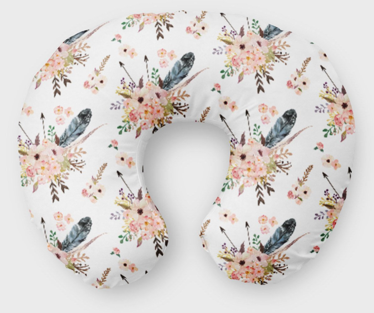 Boho Floral Boppy Cover - Pink Arrows Flowers Nursing Pillow Cover - Dream Evergreen