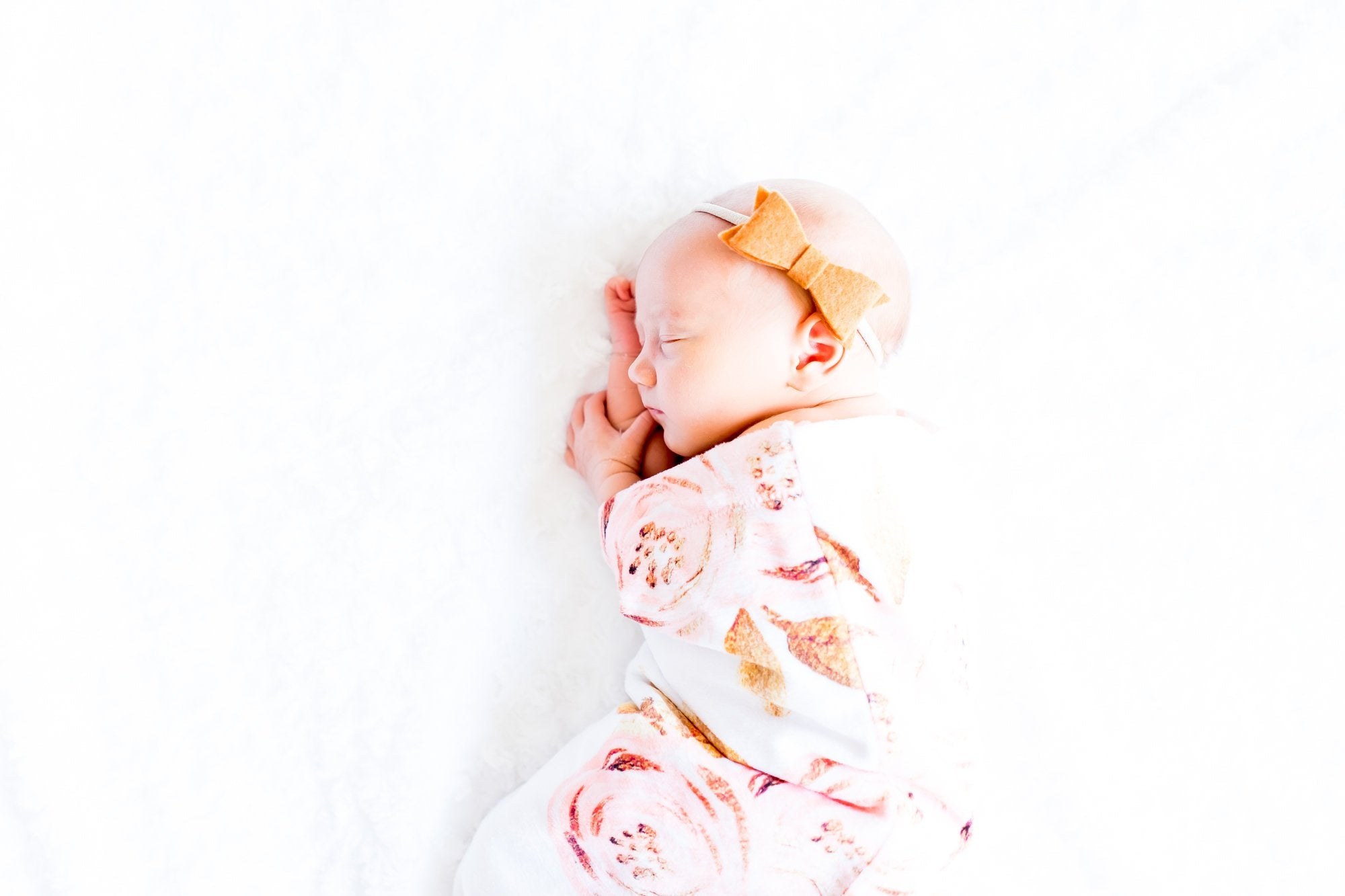 Gold Floral Swaddle Sack, Pink Flowers  Newborn Cocoon - Dream Evergreen